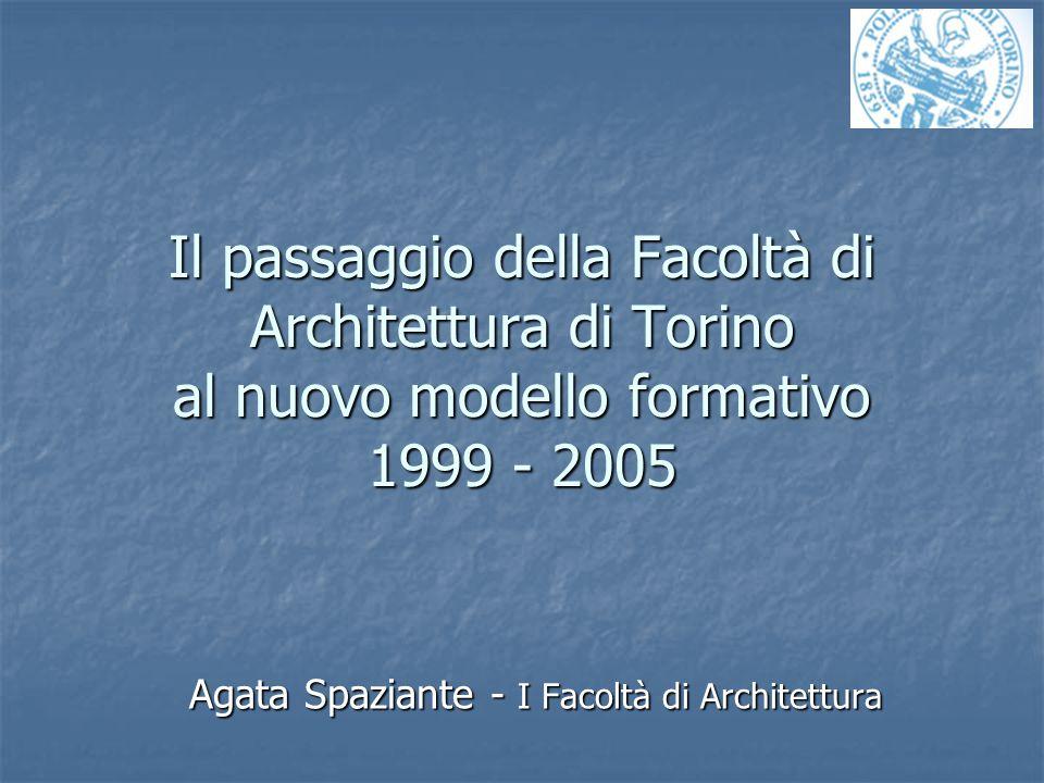 Il passaggio della Facoltà di Architettura di Torino al nuovo modello formativo 1999 - 2005 Agata Spaziante - I Facoltà di Architettura