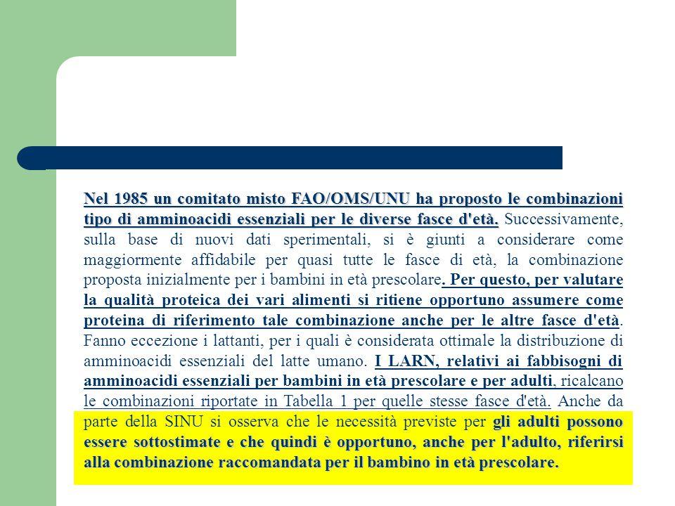 Nel 1985 un comitato misto FAO/OMS/UNU ha proposto le combinazioni tipo di amminoacidi essenziali per le diverse fasce d età.