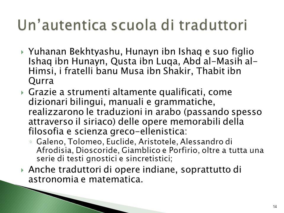  Yuhanan Bekhtyashu, Hunayn ibn Ishaq e suo figlio Ishaq ibn Hunayn, Qusta ibn Luqa, Abd al-Masih al- Himsi, i fratelli banu Musa ibn Shakir, Thabit ibn Qurra  Grazie a strumenti altamente qualificati, come dizionari bilingui, manuali e grammatiche, realizzarono le traduzioni in arabo (passando spesso attraverso il siriaco) delle opere memorabili della filosofia e scienza greco-ellenistica: ◦ Galeno, Tolomeo, Euclide, Aristotele, Alessandro di Afrodisia, Dioscoride, Giamblico e Porfirio, oltre a tutta una serie di testi gnostici e sincretistici;  Anche traduttori di opere indiane, soprattutto di astronomia e matematica.
