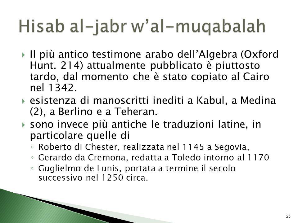  Il più antico testimone arabo dell'Algebra (Oxford Hunt.