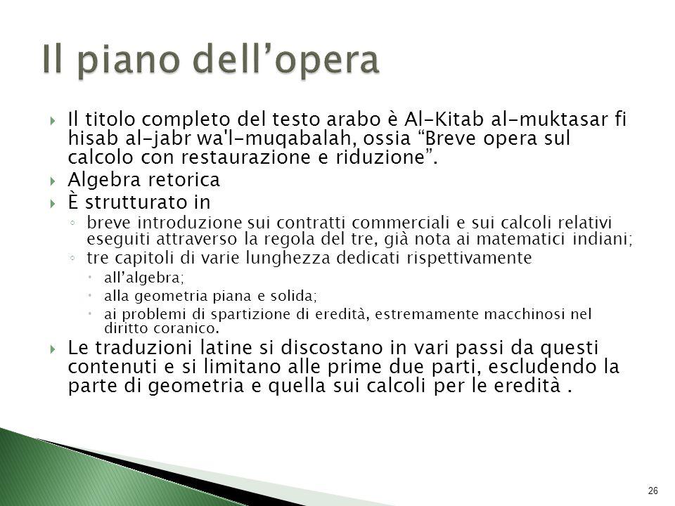  Il titolo completo del testo arabo è Al-Kitab al-muktasar fi hisab al-jabr wa l-muqabalah, ossia Breve opera sul calcolo con restaurazione e riduzione .