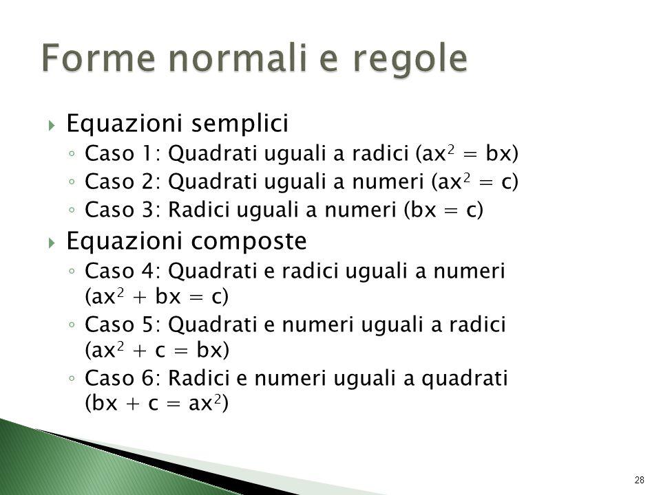  Equazioni semplici ◦ Caso 1: Quadrati uguali a radici (ax 2 = bx) ◦ Caso 2: Quadrati uguali a numeri (ax 2 = c) ◦ Caso 3: Radici uguali a numeri (bx = c)  Equazioni composte ◦ Caso 4: Quadrati e radici uguali a numeri (ax 2 + bx = c) ◦ Caso 5: Quadrati e numeri uguali a radici (ax 2 + c = bx) ◦ Caso 6: Radici e numeri uguali a quadrati (bx + c = ax 2 ) 28