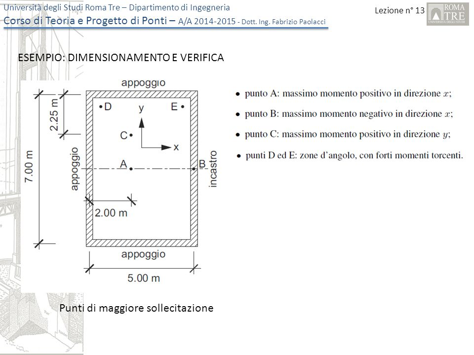 Lezione n° 13 Università degli Studi Roma Tre – Dipartimento di Ingegneria Corso di Teoria e Progetto di Ponti – A/A 2014-2015 - Dott. Ing. Fabrizio P