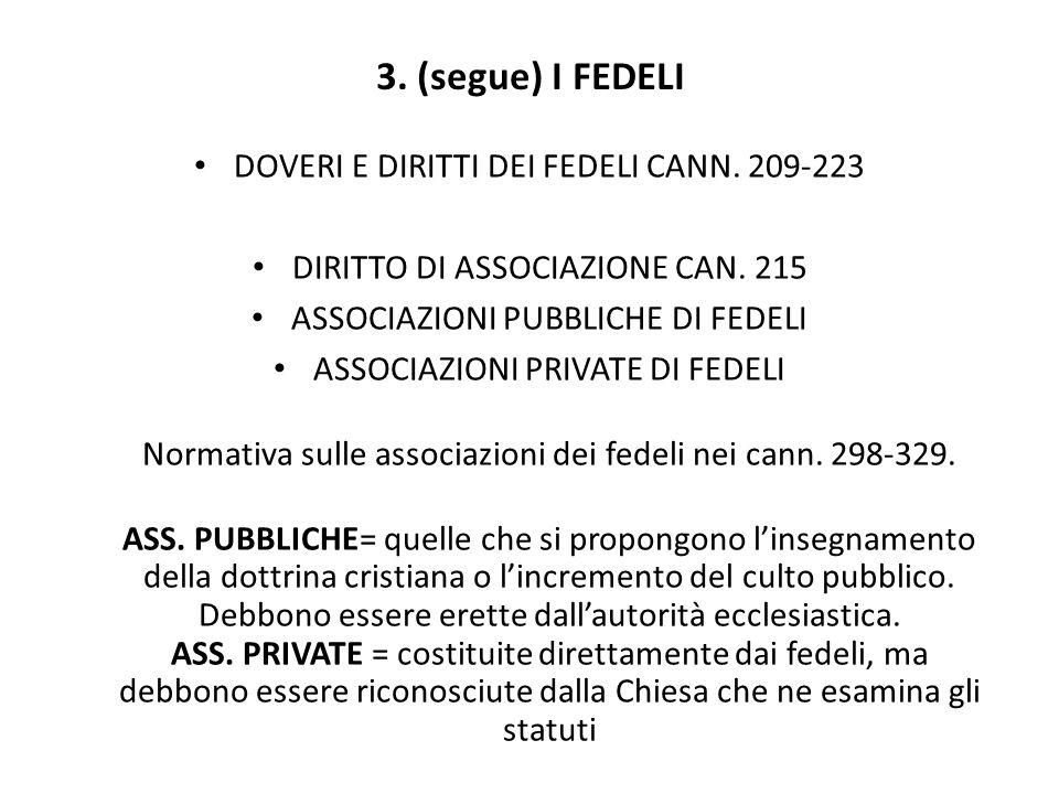 3. (segue) I FEDELI DOVERI E DIRITTI DEI FEDELI CANN. 209-223 DIRITTO DI ASSOCIAZIONE CAN. 215 ASSOCIAZIONI PUBBLICHE DI FEDELI ASSOCIAZIONI PRIVATE D