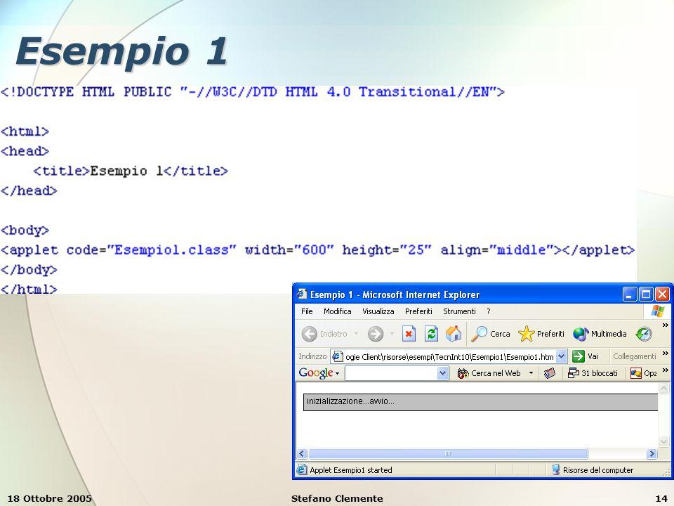 18 Ottobre 2005Stefano Clemente14 Esempio 1