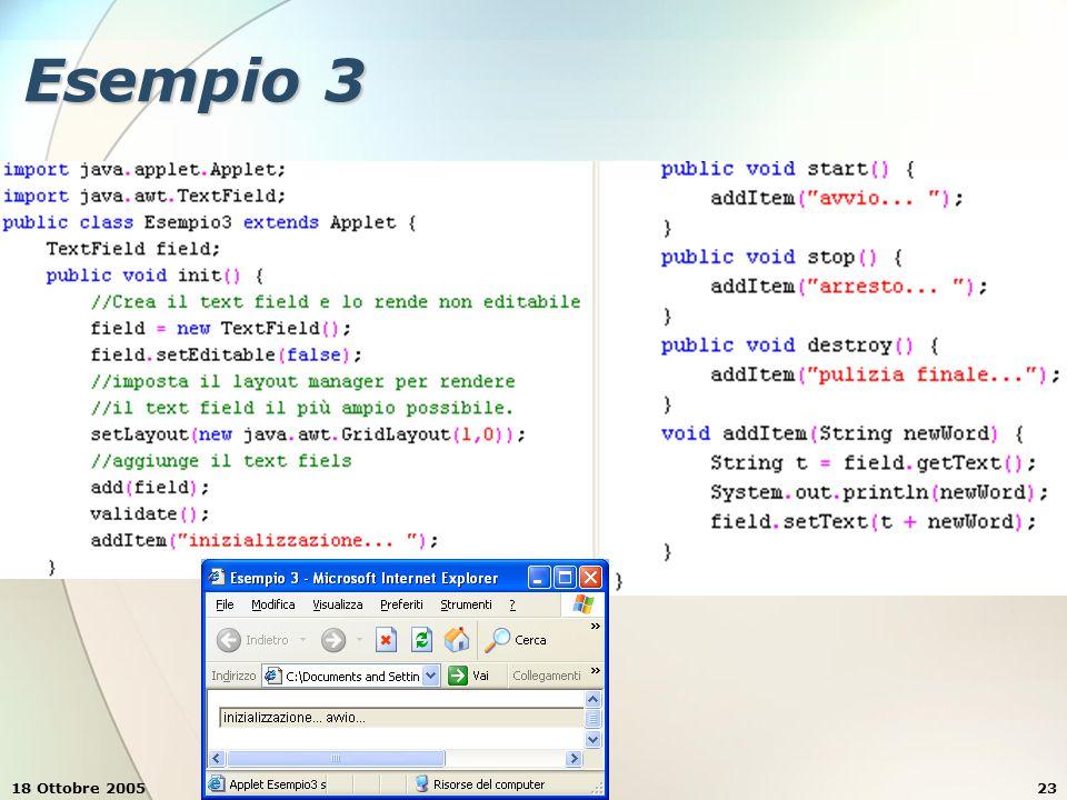 18 Ottobre 2005Stefano Clemente23 Esempio 3