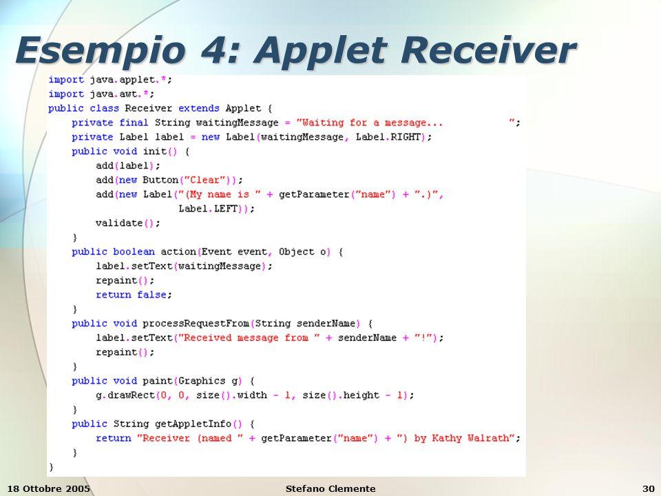 18 Ottobre 2005Stefano Clemente30 Esempio 4: Applet Receiver