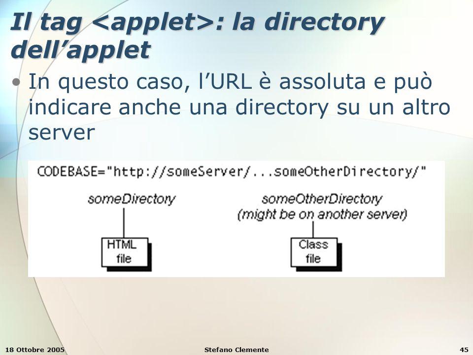 18 Ottobre 2005Stefano Clemente45 Il tag : la directory dell'applet In questo caso, l'URL è assoluta e può indicare anche una directory su un altro server