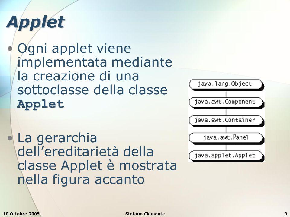 18 Ottobre 2005Stefano Clemente9 Applet AppletOgni applet viene implementata mediante la creazione di una sottoclasse della classe Applet La gerarchia dell'ereditarietà della classe Applet è mostrata nella figura accanto
