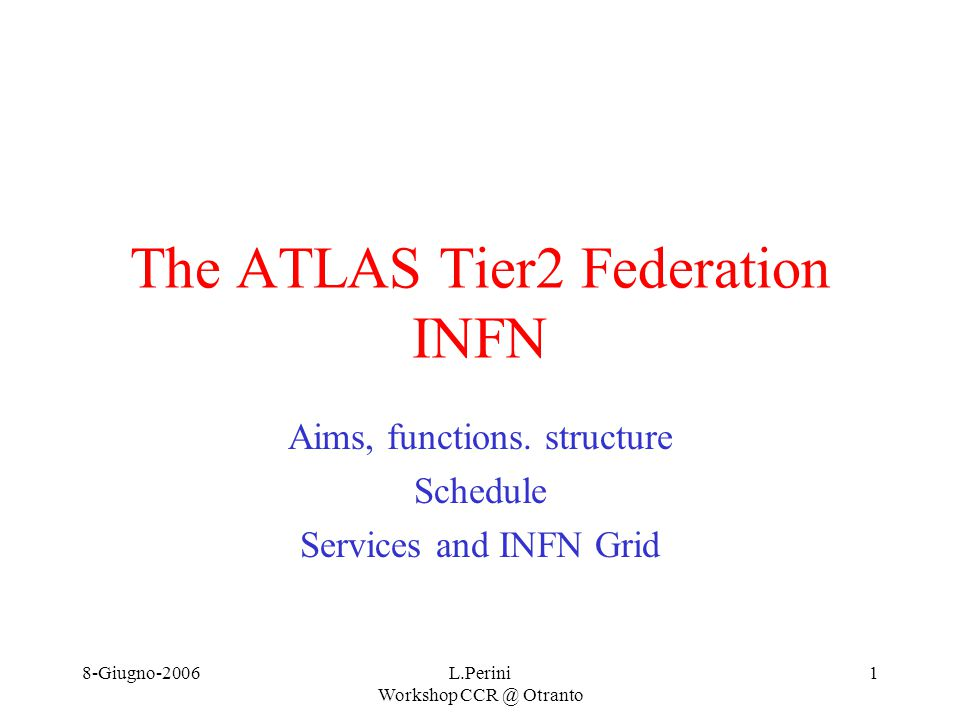 8-Giugno-2006L.Perini Workshop CCR @ Otranto 1 The ATLAS Tier2 Federation INFN Aims, functions.