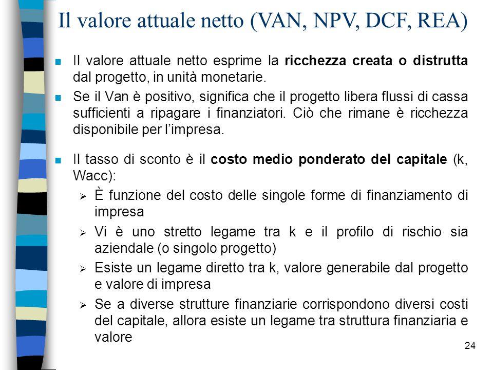 24 Il valore attuale netto (VAN, NPV, DCF, REA) n Il valore attuale netto esprime la ricchezza creata o distrutta dal progetto, in unità monetarie.