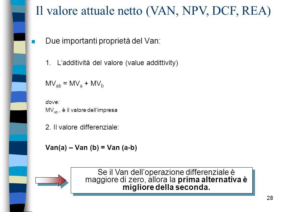 28 Il valore attuale netto (VAN, NPV, DCF, REA) n Due importanti proprietà del Van: 1.L'additività del valore (value addittivity) MV ab = MV a + MV b dove: MV ab, è il valore dell'impresa 2.