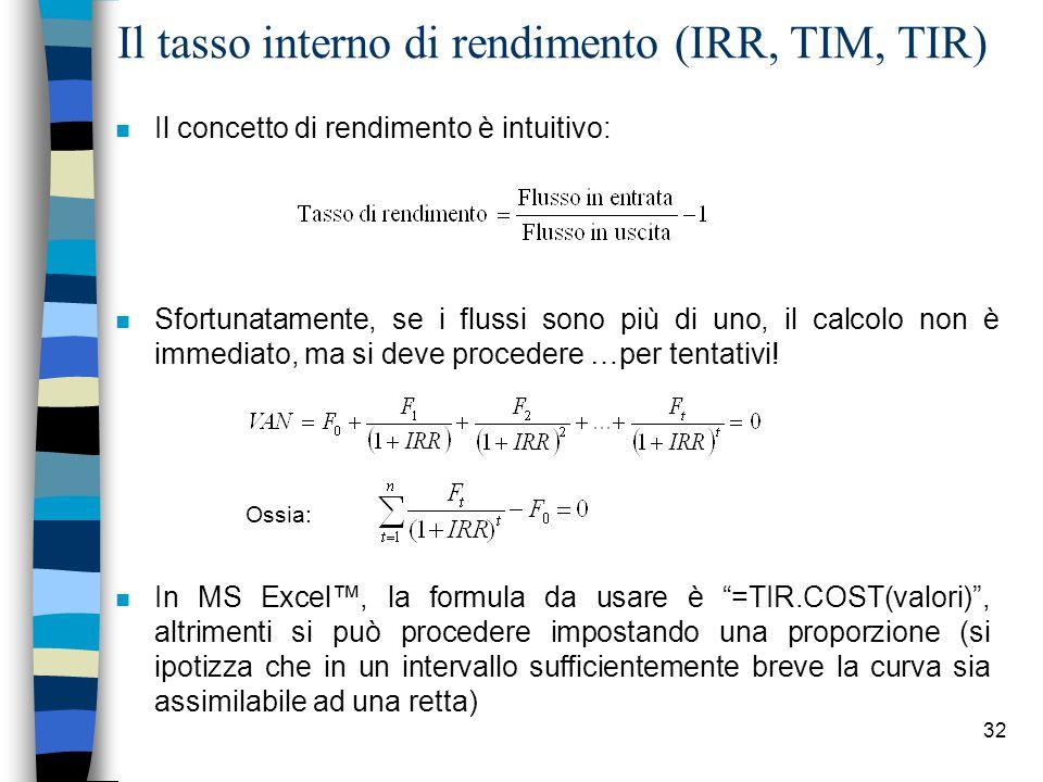 32 Il tasso interno di rendimento (IRR, TIM, TIR) n Il concetto di rendimento è intuitivo: n Sfortunatamente, se i flussi sono più di uno, il calcolo non è immediato, ma si deve procedere …per tentativi.