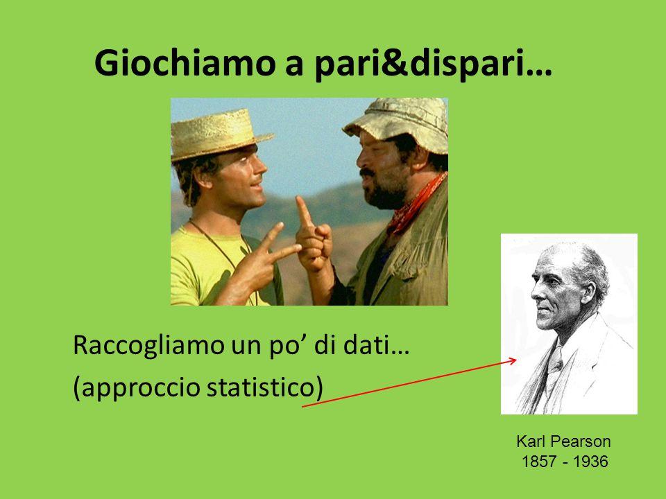 Giochiamo a pari&dispari… Raccogliamo un po' di dati… (approccio statistico) Karl Pearson 1857 - 1936