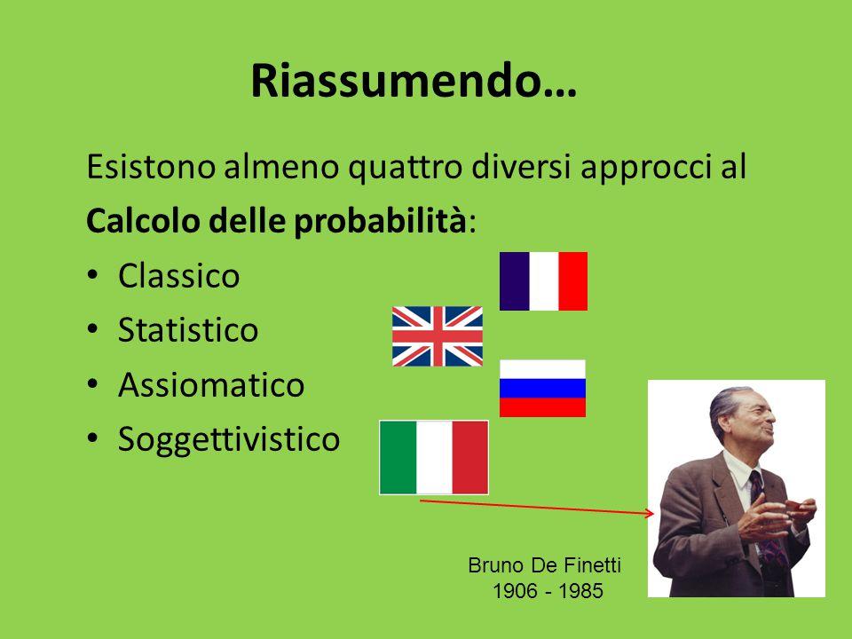 Riassumendo… Esistono almeno quattro diversi approcci al Calcolo delle probabilità: Classico Statistico Assiomatico Soggettivistico Bruno De Finetti 1906 - 1985