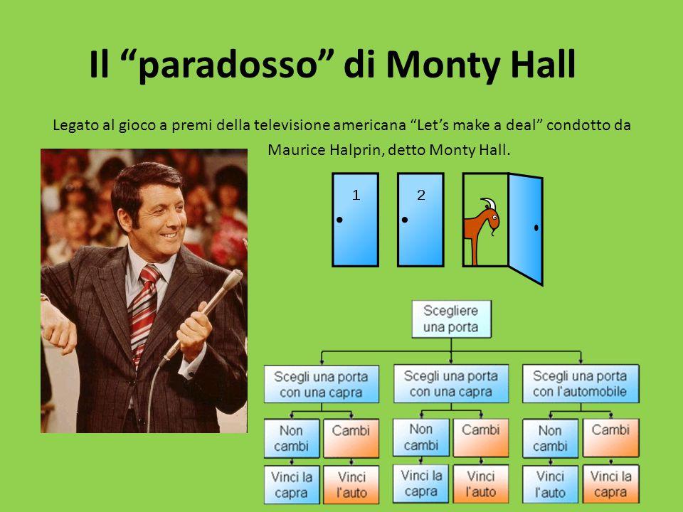 Il paradosso di Monty Hall Legato al gioco a premi della televisione americana Let's make a deal condotto da Maurice Halprin, detto Monty Hall.