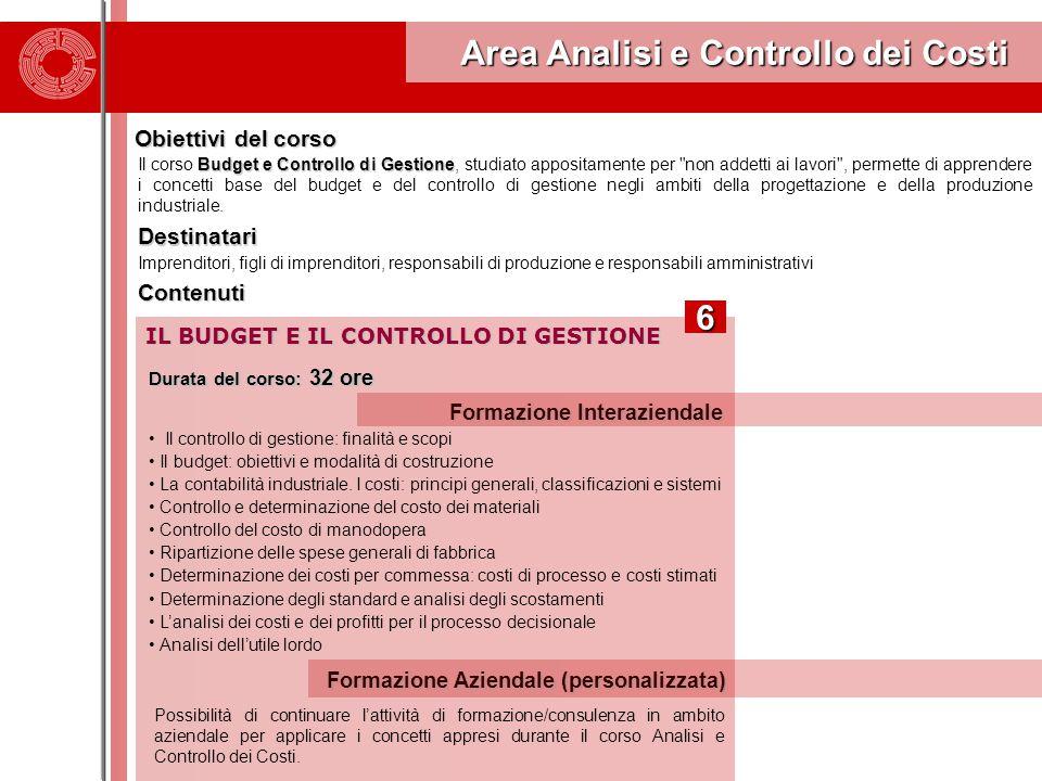Area Analisi e Controllo dei Costi Area Analisi e Controllo dei Costi Obiettivi del corso Budget e Controllo di Gestione Il corso Budget e Controllo d