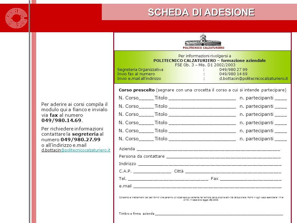 Per informazioni rivolgersi a POLITECNICO CALZATURIERO – formazione aziendale FSE Ob. 3 – Mis. D1 2002/2003 Segreteria Organizzativa : 049/980 27 99 I
