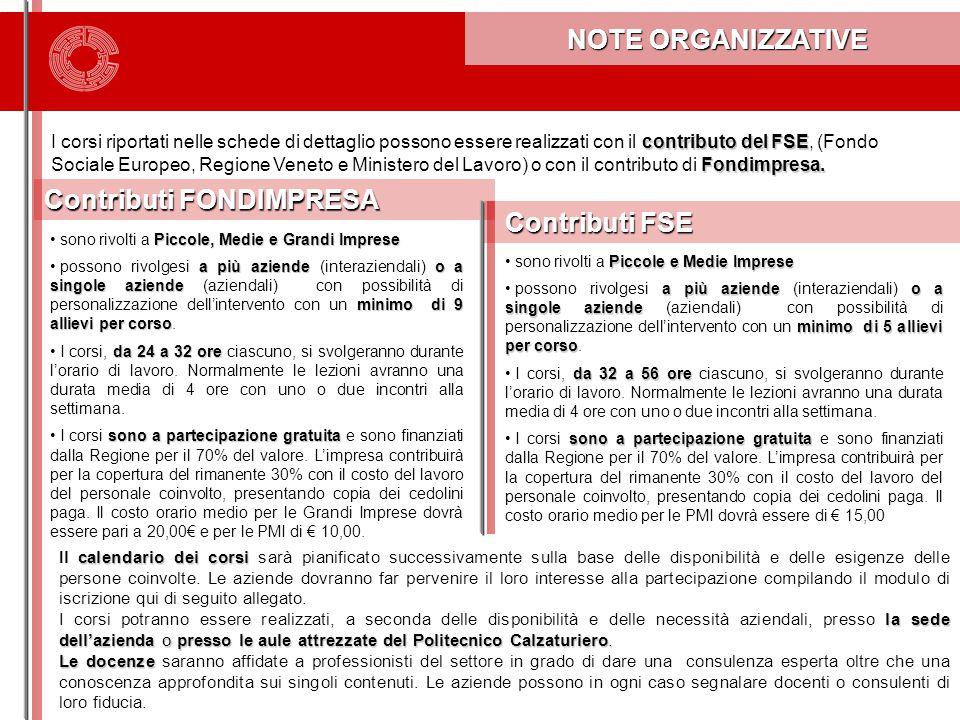 NOTE ORGANIZZATIVE NOTE ORGANIZZATIVE contributo del FSE Fondimpresa.