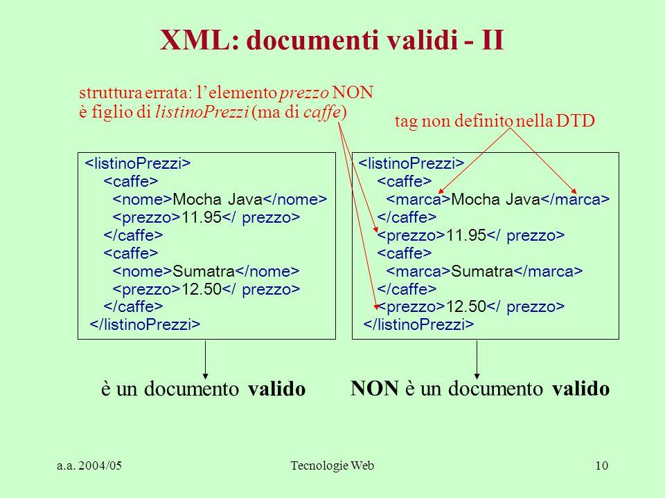 a.a. 2004/05Tecnologie Web10 XML: documenti validi - II Mocha Java 11.95 Sumatra 12.50 Mocha Java 11.95 Sumatra 12.50 è un documento valido NON è un d