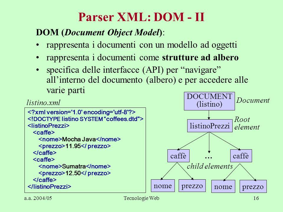 a.a. 2004/05Tecnologie Web16 Parser XML: DOM - II DOM (Document Object Model): rappresenta i documenti con un modello ad oggetti rappresenta i documen