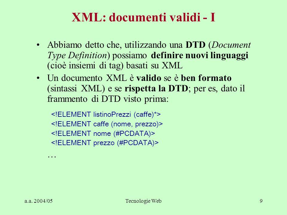 a.a. 2004/05Tecnologie Web9 XML: documenti validi - I Abbiamo detto che, utilizzando una DTD (Document Type Definition) possiamo definire nuovi lingua