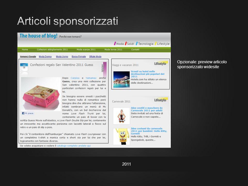 2011 Opzionale: preview articolo sponsorizzato widesite