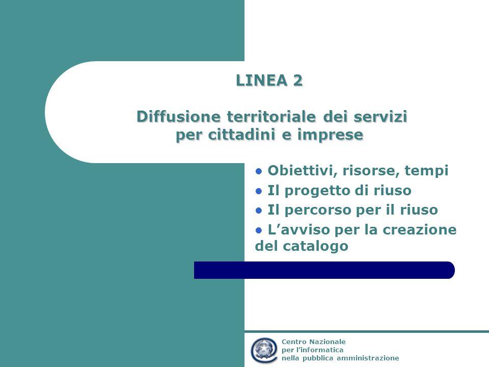 Ministro per l'Innovazione e le Tecnologie Centro Nazionale per l'informatica nella pubblica amministrazione LINEA 2 Diffusione territoriale dei servi