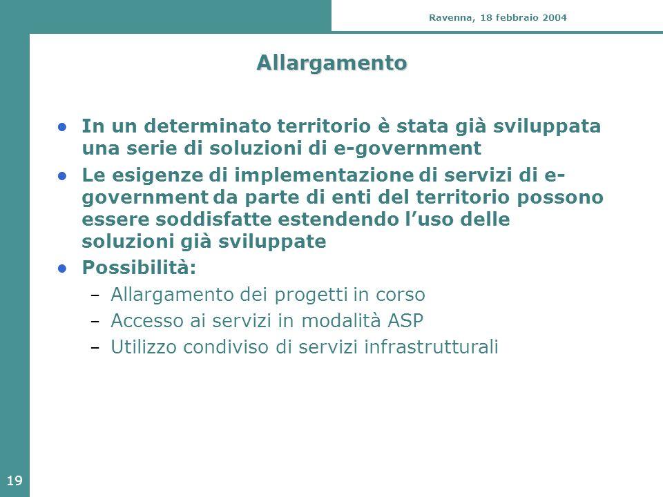 19 Ravenna, 18 febbraio 2004 Allargamento In un determinato territorio è stata già sviluppata una serie di soluzioni di e-government Le esigenze di im