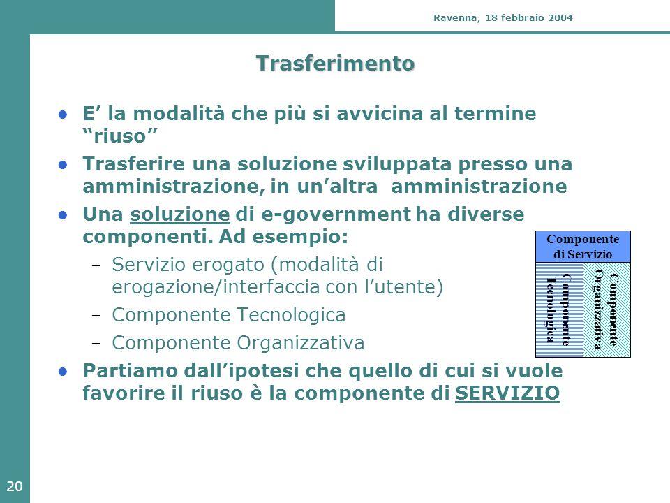 20 Ravenna, 18 febbraio 2004 Trasferimento E' la modalità che più si avvicina al termine riuso Trasferire una soluzione sviluppata presso una amministrazione, in un'altra amministrazione Una soluzione di e-government ha diverse componenti.