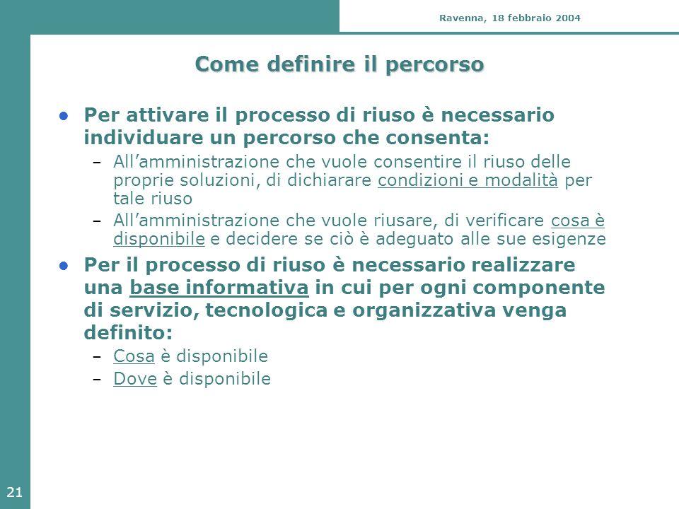 21 Ravenna, 18 febbraio 2004 Come definire il percorso Per attivare il processo di riuso è necessario individuare un percorso che consenta: – All'ammi