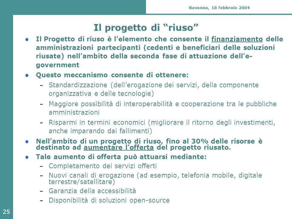 """25 Ravenna, 18 febbraio 2004 Il progetto di """"riuso"""" Il Progetto di riuso è l'elemento che consente il finanziamento delle amministrazioni partecipanti"""
