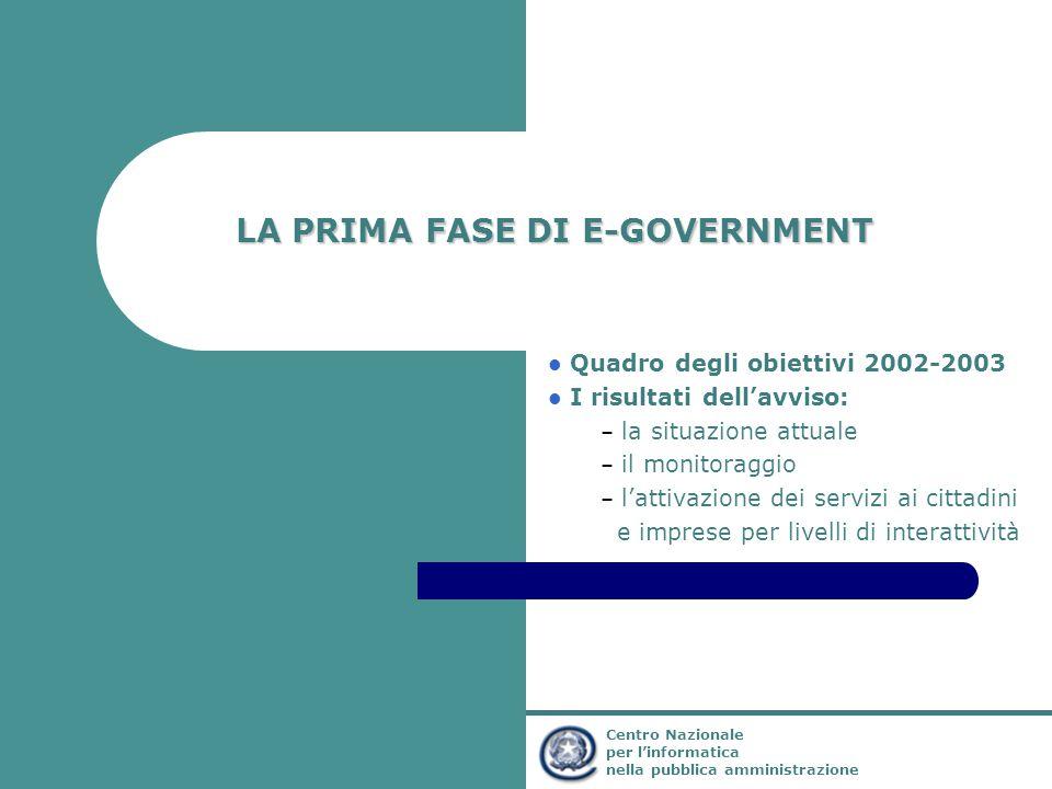 Ministro per l'Innovazione e le Tecnologie Centro Nazionale per l'informatica nella pubblica amministrazione LA PRIMA FASE DI E-GOVERNMENT Quadro degl