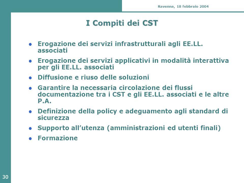 30 Ravenna, 18 febbraio 2004 I Compiti dei CST Erogazione dei servizi infrastrutturali agli EE.LL. associati Erogazione dei servizi applicativi in mod