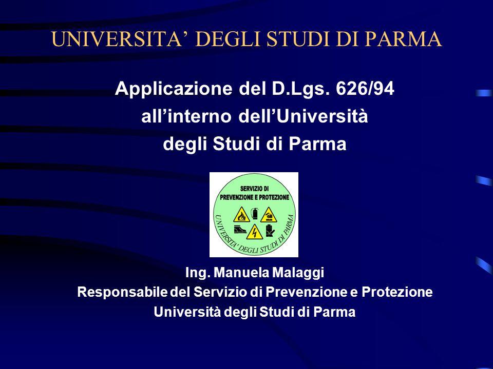 UNIVERSITA' DEGLI STUDI DI PARMA Applicazione del D.Lgs.