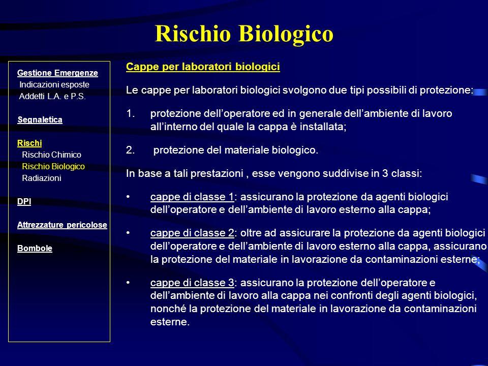 Rischio Biologico Gestione Emergenze Indicazioni esposte Addetti L.A.