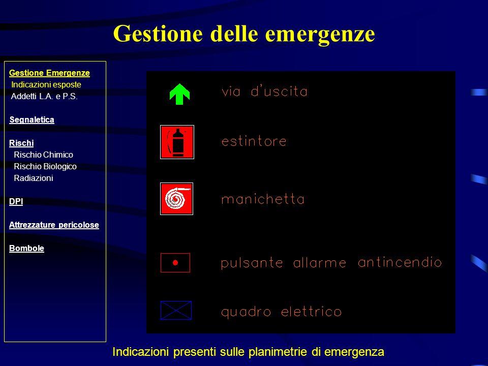 Rischio Chimico Gestione Emergenze Indicazioni esposte Addetti L.A.