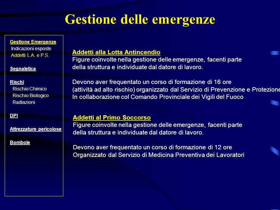 Gestione delle emergenze Gestione Emergenze Indicazioni esposte Addetti L.A.