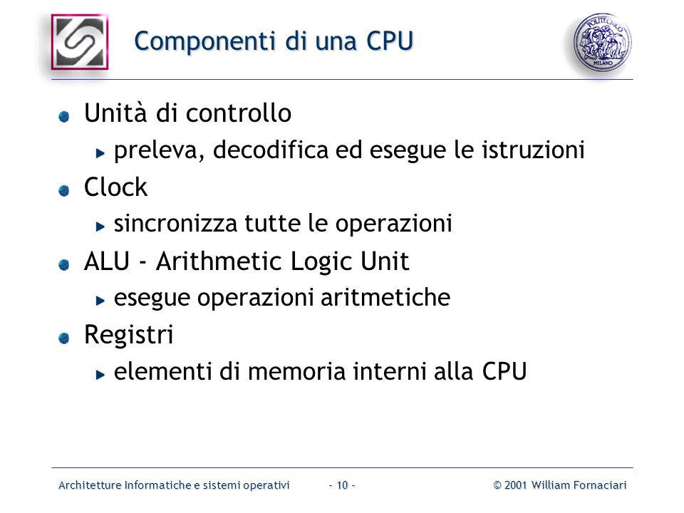 Architetture Informatiche e sistemi operativi© 2001 William Fornaciari- 10 - Componenti di una CPU Unità di controllo preleva, decodifica ed esegue le