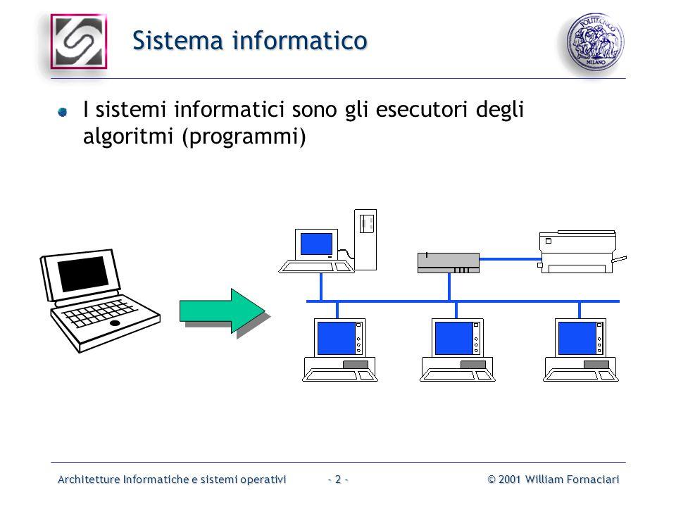 Architetture Informatiche e sistemi operativi© 2001 William Fornaciari- 2 - Sistema informatico I sistemi informatici sono gli esecutori degli algoritmi (programmi)