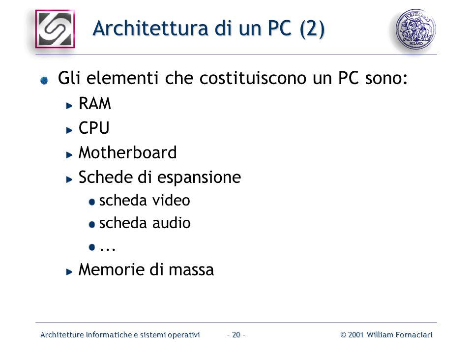 Architetture Informatiche e sistemi operativi© 2001 William Fornaciari- 20 - Architettura di un PC (2) Gli elementi che costituiscono un PC sono: RAM CPU Motherboard Schede di espansione scheda video scheda audio...
