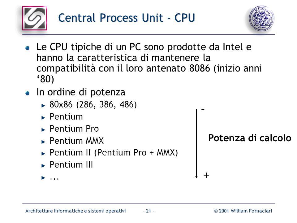 Architetture Informatiche e sistemi operativi© 2001 William Fornaciari- 21 - Central Process Unit - CPU Le CPU tipiche di un PC sono prodotte da Intel