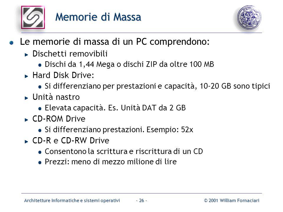 Architetture Informatiche e sistemi operativi© 2001 William Fornaciari- 26 - Memorie di Massa Le memorie di massa di un PC comprendono: Dischetti remo
