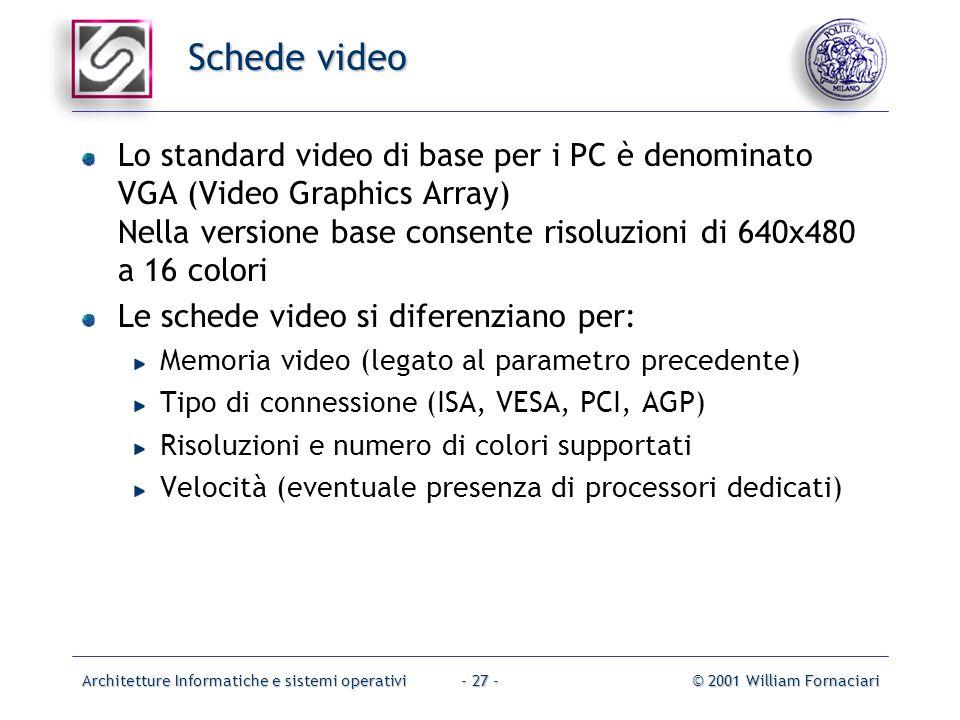 Architetture Informatiche e sistemi operativi© 2001 William Fornaciari- 27 - Schede video Lo standard video di base per i PC è denominato VGA (Video Graphics Array) Nella versione base consente risoluzioni di 640x480 a 16 colori Le schede video si diferenziano per: Memoria video (legato al parametro precedente) Tipo di connessione (ISA, VESA, PCI, AGP) Risoluzioni e numero di colori supportati Velocità (eventuale presenza di processori dedicati)