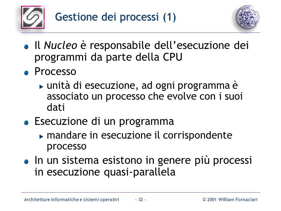 Architetture Informatiche e sistemi operativi© 2001 William Fornaciari- 32 - Gestione dei processi (1) Il Nucleo è responsabile dell'esecuzione dei pr