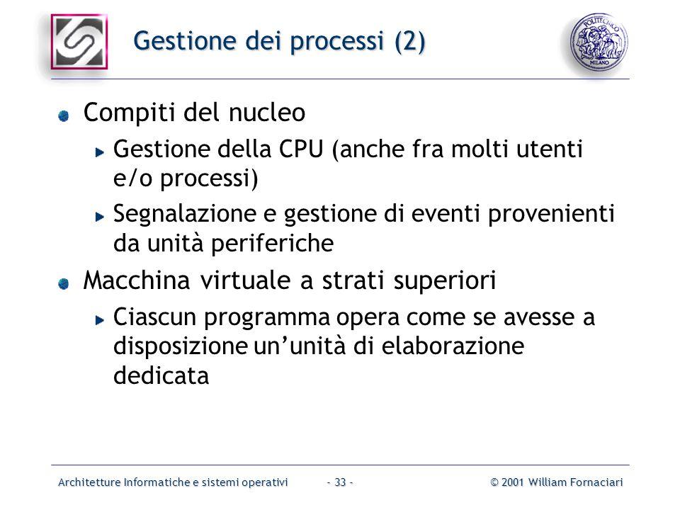 Architetture Informatiche e sistemi operativi© 2001 William Fornaciari- 33 - Gestione dei processi (2) Compiti del nucleo Gestione della CPU (anche fr