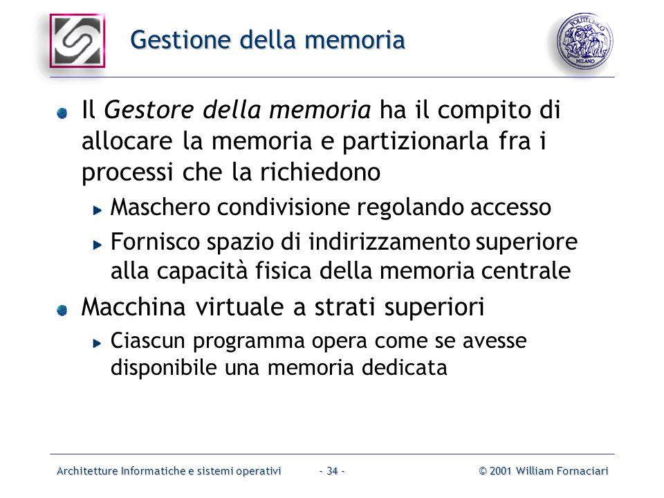Architetture Informatiche e sistemi operativi© 2001 William Fornaciari- 34 - Gestione della memoria Il Gestore della memoria ha il compito di allocare