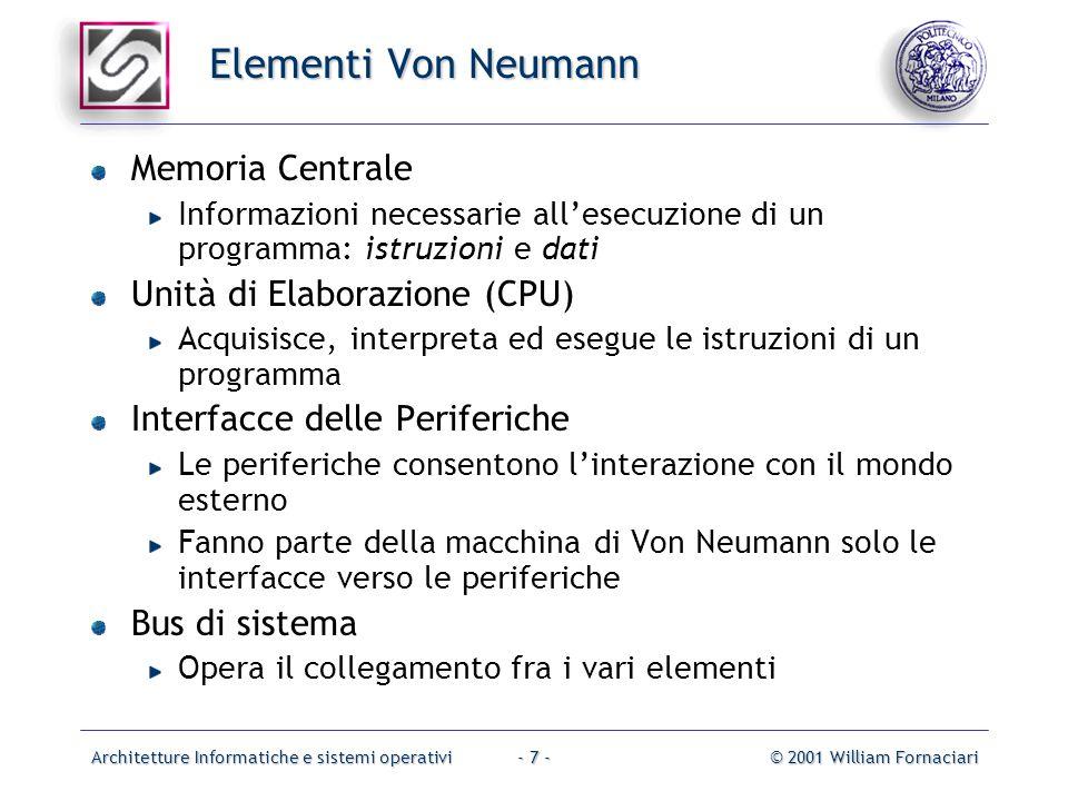 Architetture Informatiche e sistemi operativi© 2001 William Fornaciari- 7 - Elementi Von Neumann Memoria Centrale Informazioni necessarie all'esecuzione di un programma: istruzioni e dati Unità di Elaborazione (CPU) Acquisisce, interpreta ed esegue le istruzioni di un programma Interfacce delle Periferiche Le periferiche consentono l'interazione con il mondo esterno Fanno parte della macchina di Von Neumann solo le interfacce verso le periferiche Bus di sistema Opera il collegamento fra i vari elementi