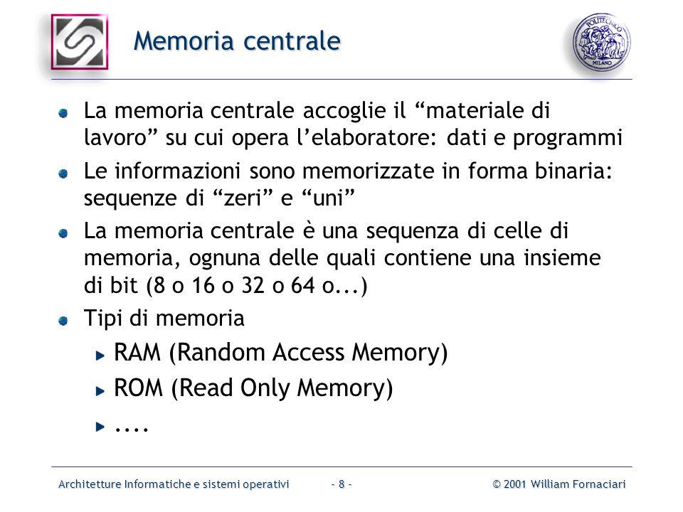 Architetture Informatiche e sistemi operativi© 2001 William Fornaciari- 8 - Memoria centrale La memoria centrale accoglie il materiale di lavoro su cui opera l'elaboratore: dati e programmi Le informazioni sono memorizzate in forma binaria: sequenze di zeri e uni La memoria centrale è una sequenza di celle di memoria, ognuna delle quali contiene una insieme di bit (8 o 16 o 32 o 64 o...) Tipi di memoria RAM (Random Access Memory) ROM (Read Only Memory)....