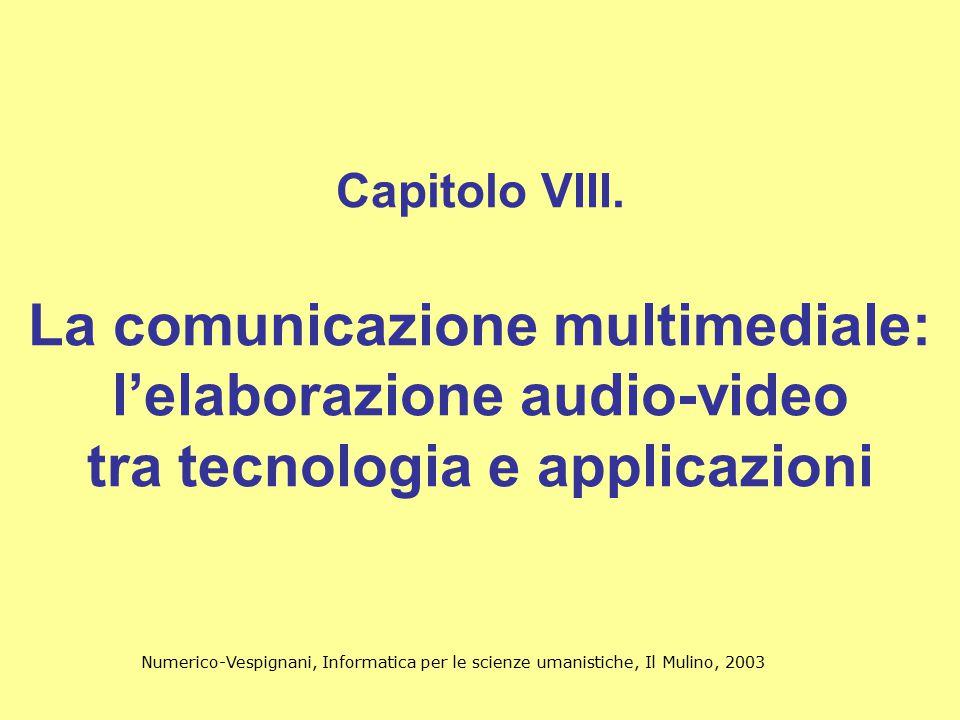 Numerico-Vespignani, Informatica per le scienze umanistiche, Il Mulino, 2003 32 Tipi di MPEG MPEG-1: bitrate massimo 1.5 Mbit/s MPEG-2: bitrate massimo 16 Mbps MPEG-3: Rollback in MPEG-2 MPEG-4: progettato per la trasmissione video su rete MPEG-7: progettato per la codifica audiovisiva in relazione al contenuto semantico